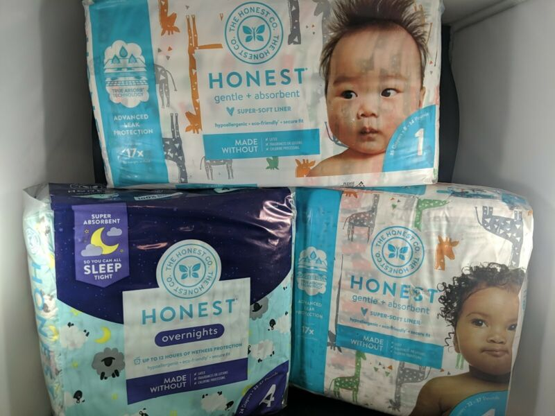 (4-Pack) The Honest Company Eco-Friendly Gentle Diapers Giraffe YOU CHOOSE SIZE