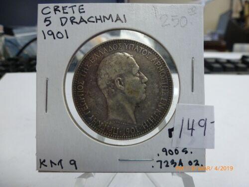 1901 Crete Greece 5 Drachmai Silver Coin (.7234 ASW) -KM# 9