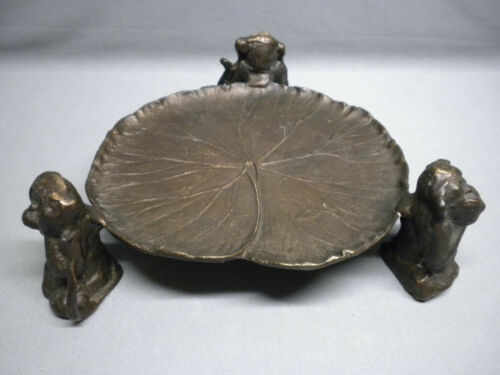 Rare Vintage Brass Monkeys Hear No Evil See No Evil Speak No Evil Leaf Tray