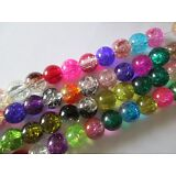 CRACKLE CRYSTAL GLASS BEADS 8MM SPACERS  CHARMS JEWELRY MACKING ASSORTED COLOR