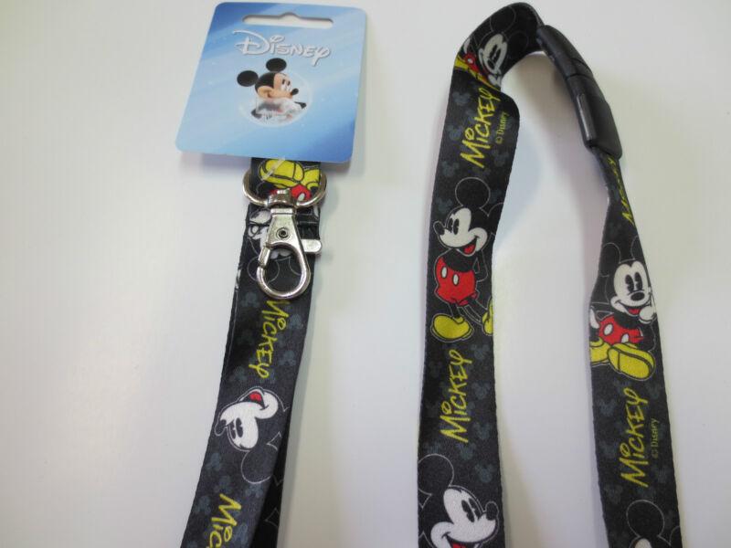 Authentic Disney Black Mickey Mouse Breakaway Lanyard / New