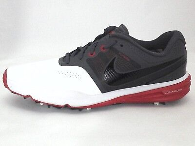 NIKE Golf Shoes Lunarlon Flywire Command White/Gray/Red Active Mens US 7 EU 40
