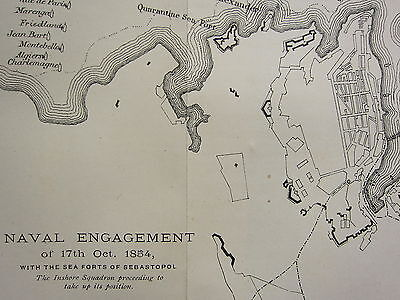1874 CRIMEA WAR MAP ~ NAVAL ENGAGEMENT OF 17th OCT 1854 STAR FORT FRENCH FLEET