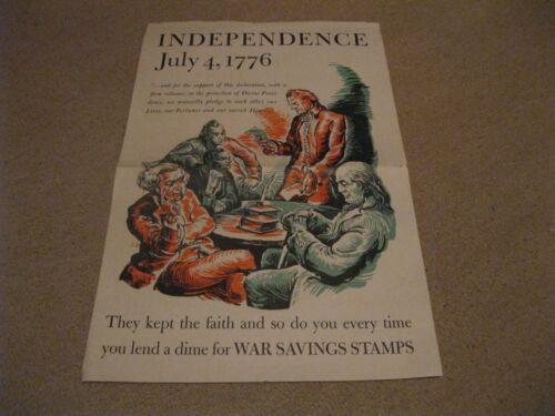 """Savings Stamps 1776 Independence folded 12x18"""" VG Poster WWII"""