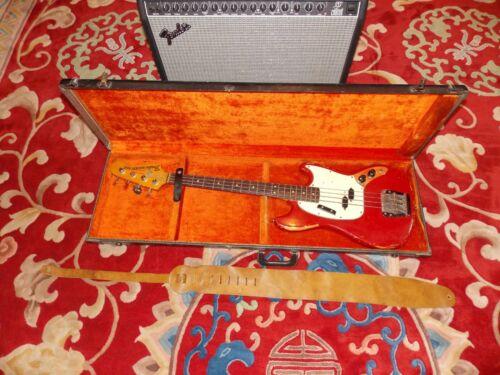 1966 Fender Mustang Bass Guitar Red w/Hard Case 215260 All Original