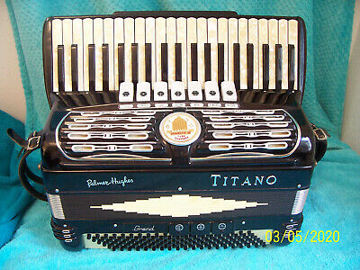 "TITANO Grand 120 bass Black Accordion 3/4 Reeds Accordian 17"" keys  #3"