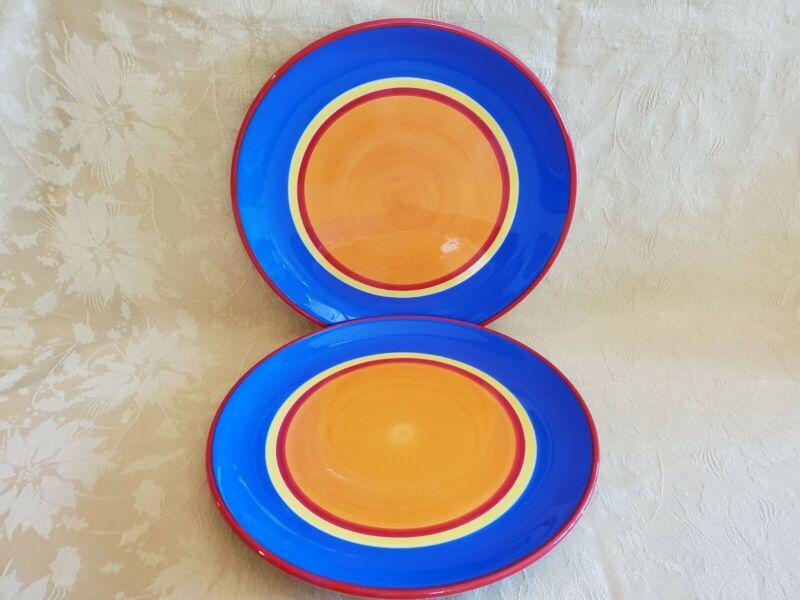 """Dansk ~ """"Caribe Bahama Blue"""" ~ Pair of Dinner Plates ~ 10 5/8"""""""