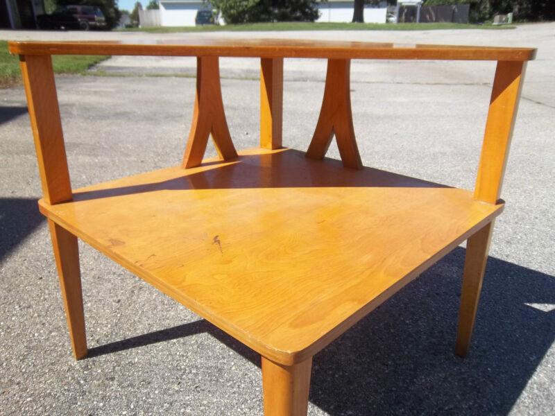 Huge Vintage Mid Century Modern Eames Era Wood Corner 2 Tier TABLE