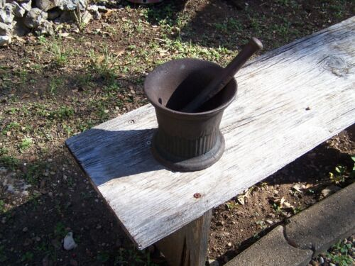 Heavy Cast Iron Mortar & Pestle with Unconfirmed  Possible Sprue Mark ???  I-144