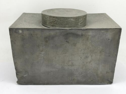 Early 17/18th Century Hand Made Pewter Tea Caddy
