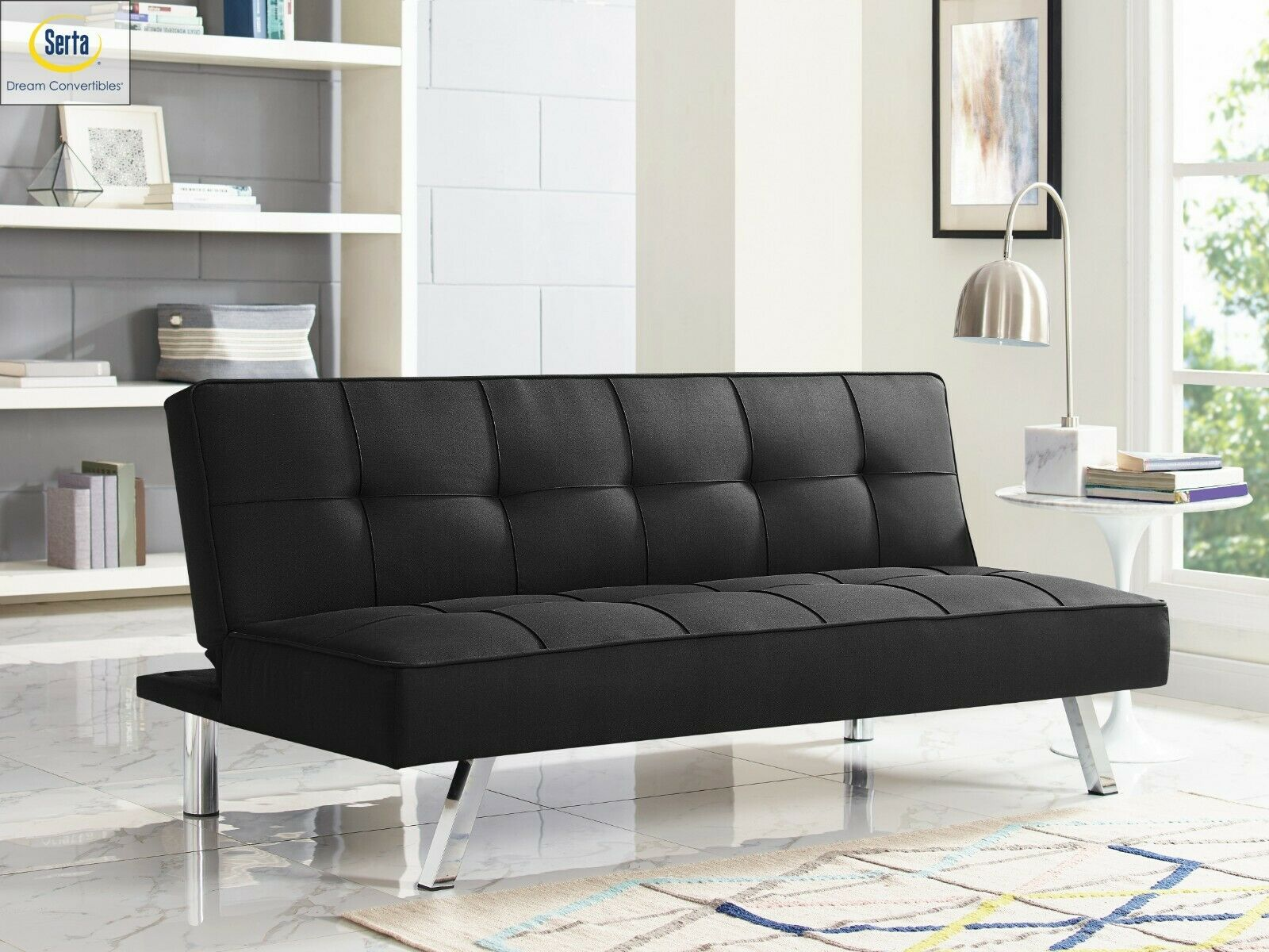 Sleeper Sofa Bed BLack Convertible Couch Modern Living Room Futon Loveseat Chair