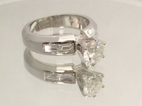 2.00ct Round Cut Designer Diamond Engagement Ring 14k White Gold Certified