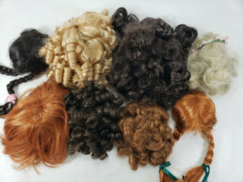 Lot of 8 Vintage Porcelain Doll Head Wigs Hair Red Blonde Brunette All Sizes