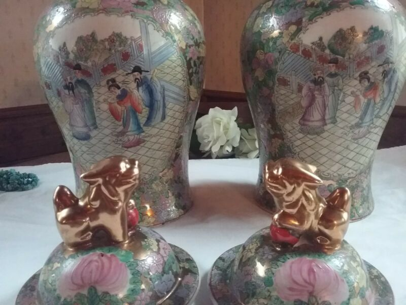 (2 ) GINGER JARS~ CHINESE ROSE FAMILLE ~GILT FOO DOG FINIALS  1 pair