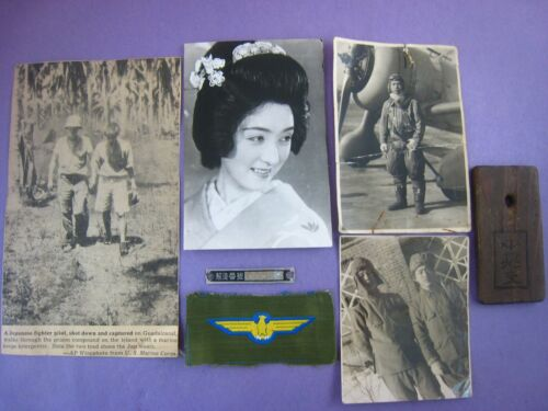 WWII ORIGINAL PHOTO JAPANESE PILOT,SOLDIERS,GEISHA,TAGS,INSIGNIA,LOT