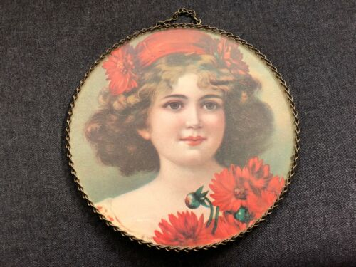 Gorgeous CHIMNEY FLUE COVER Victorian Print GIRL LADY Red Hat Flowers cute