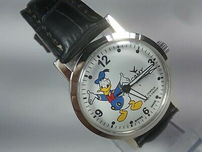 Vintage Camy Mechanical Hand Winding Movement Donald Duck Dial Wrist Watch A2