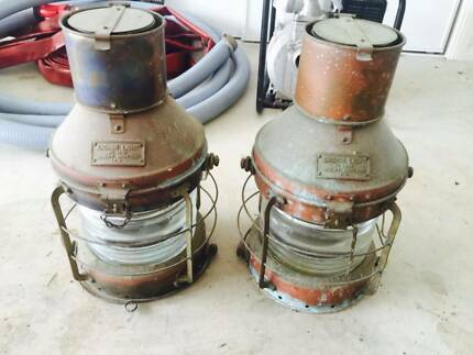 Circa 1960 Ships Lanterns Lights Oil Lamps Pair Bonogin Gold Coast South Preview