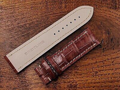 News Watch Strap Breitling Crocodile 24/22 Crocodile Glossy Brown Cool Promo