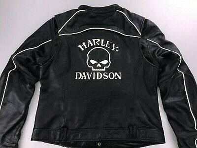 HARLEY DAVIDSON WILLIE G REFLECTIVE SKULL WOMEN'S LEATHER JACKET XL 98152-09VW