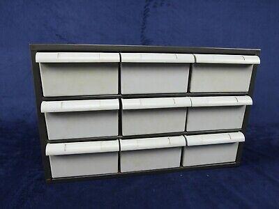 Vintage Akro Mils 9 Drawer Metal Parts Cabinet Storage Wall Organizer 18x11x11