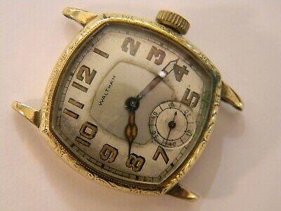 VINTAGE 1929 ART DECO WALTHAM SAPPHIRE MENS 14K GF WATCH - RUNS GOOD TIMEKEEPER