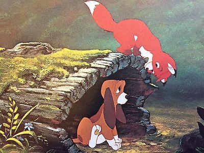 VINTAGE Walt Disney Productions Fox and the Hound Postcard 5 x 7