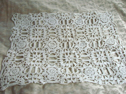 "Vintage LACE Crochet Doily Doilies LOT 2 16x22"" Floral Cotton"
