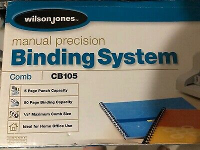 Wilson Jones Cb105 Manual Comb Binding Binder System With Spindles