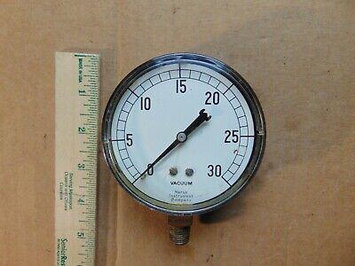 Vintage Marsh Instrument Company 0-30 Vacuum Gauge - Steampunk - Good Glass