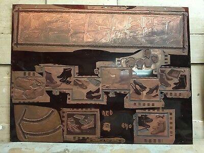 Vintage Copper Print Press Block Shoes Vandercook Indian Head Photoengravers