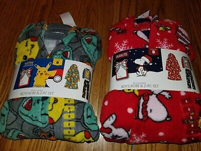 Boys Christmas Pj (Nwt Boys 3 Piece Set Pajamas Plush Robe Pokemon Peanuts Christmas Character)