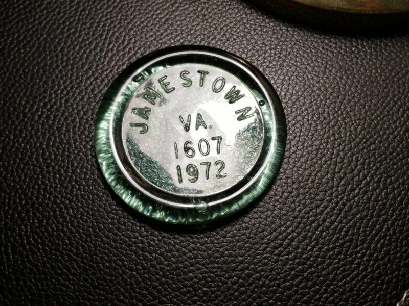 Vintage Hand Blown Glass Jamestown 1607-1972  Paperweight Coaster Souvenir Green