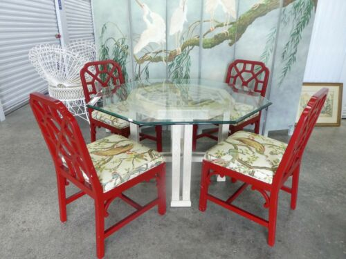 CHINESE CHIPPENDALE DINING SET ,  OCTAGONAL DINING TABLE AND 4  TRELLIS CHAIRS