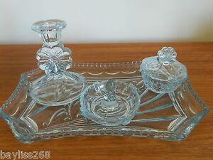 Lovely-Art-Deco-Dressing-Table-Set-Pretty-Blue-Colour-Glass-Great-Shape