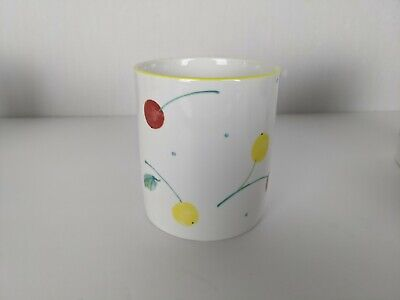 Mikasa Berry Jubilee DW106 5 Mugs Blue Stripes With Red And Yellow Cherries - $49.99