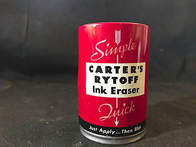 Vtg Carters Ink Co. Carters Rytoff Ink Eraser Simple Quick In Tin W Papers