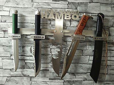 Rambomesser-Set John Rambo 1,2,3 und 4 + Desighner-Wandhalterung aus Edelstahl