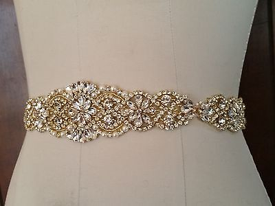 "Wedding Dress Sash Belt -  Gold Crystal Pearl Bridal Sash Belt = 14 1/2"" long"