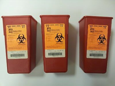 3 Pack-- Sharps Container Biohazard Needle Disposal 1 Qt Size