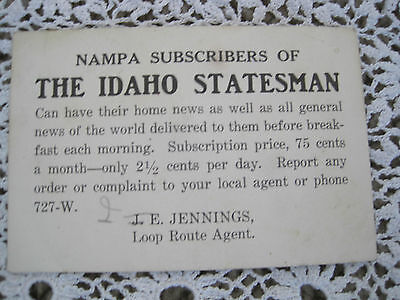 The Idaho Statesman Card Id Ida Subscription Advertisment Vintage Antique News