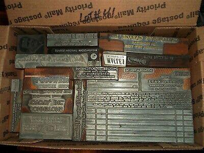 No.41 Lot Of 15 Vintage Cuts Printing Block Letterpress Zinc Lead Wood