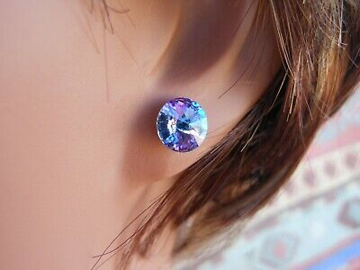 HYPOALLERGENIC Stud Earrings Swarovski Elements Crystal Lavender Vitrail