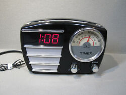 Retro Looking Timex Clock-Radio Alarm Model # T247B with AC cord and Antenna