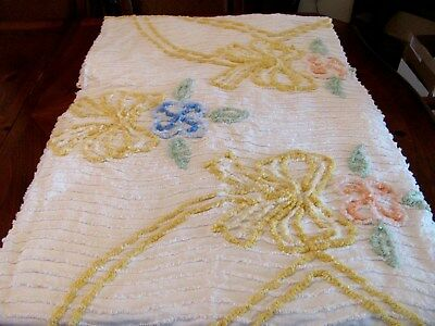 "VTG USA WHITE CHENILLE PASTEL COLORED BOWS/FLOWERS BEDSPREAD 74""X100"" FULL SIZE"