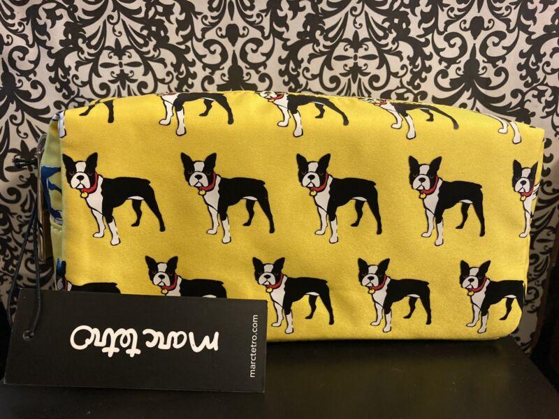 Marc Tetro Boston Terrier Dog Small Cosmetic Makeup Bag Nylon Fabric - NEW