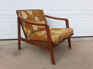 Mid Century Modern Danish Style Lounge Chair Vintage Wood Retro