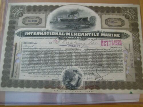 INTERNATIONAL MERCANTILE MARINE COMPANY....1920 STOCK CERTIFICATE