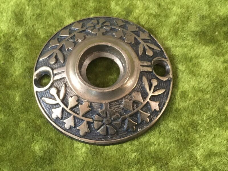 Beautiful EASTLAKE style antique Brass round door plate estutcheon cover.