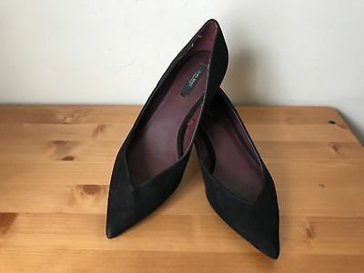 Zara Basic Womens SZ 38/ 8  black pointy toe kitten heels pumps shoes